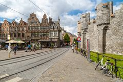 Front Square Gravensteen Castle in Gent Royalty Free Stock Photography