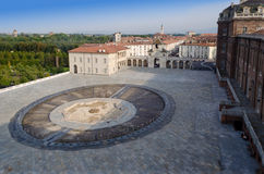Front square of Reggia di Venaria and fountain Royalty Free Stock Photo