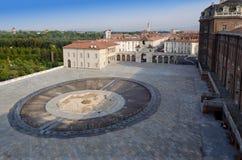 Front square of Reggia di Venaria and fountain. Fountain and square at the entrance of Venaria palace Royalty Free Stock Photo