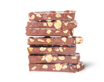In front stack of seven chocolate bars Royalty Free Stock Image