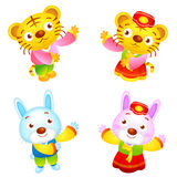 The front stand up Tiger and Rabbit Mascot Stock Images