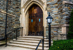 Front steps of a church in Hanover, Pennsylvania. Royalty Free Stock Photo
