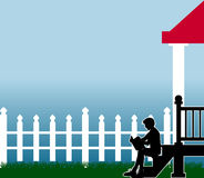 Front_stoop. Raster silhouette graphic depicting a boy reading a book on his front porch steps Stock Images
