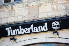Front store sign of a Timberland clothing and footwear store. royalty free stock images