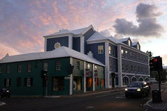 Front Street at night - Hamilton, Bermuda  Royalty Free Stock Photography