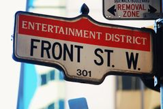 Front Street - in the Toronto entertainment area stock photos
