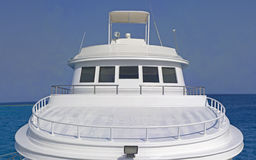 Front sundeck of a large motor yacht. Front sundeck area of a large private motor yacht with space for a logo Royalty Free Stock Photography