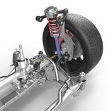 Front suspension with wheel of drive car. New tire. On white. 3D illustration stock photography