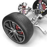 Front suspension with wheel of drive car. New tire. On white. 3D illustration. Front suspension with wheel of drive car. New tire. On white background. 3D Stock Image