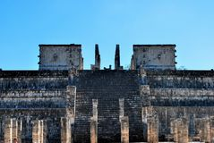 Front of Temple of Warriors Chichen Itza Mexico Stock Photography