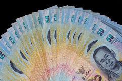 Front of Thai fifty baht banknotes Royalty Free Stock Photos