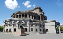 In front of Theatre of Opera and Ballet, Yerevan royalty free stock image