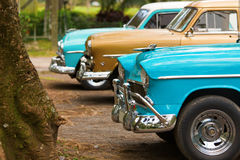 Front of three classic old car in Cuba Stock Images