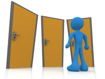 In Front Of Three Doors Royalty Free Stock Photo