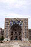 Front of Tilya-Kori Madrasah in Samarkand Stock Photos