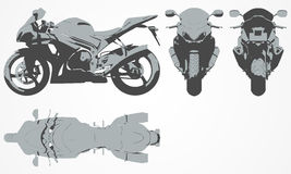 Front, top, back and side chopper projection Stock Photos