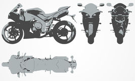 Front, top, back and side chopper projection Stock Photo