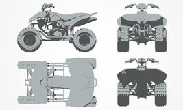 Front, top, back and side quad bike projection. Flat illustration set for designing motorbikes icons Royalty Free Stock Photo