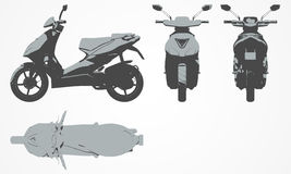 Front, top, back and side scooter projection royalty free illustration
