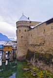 Front towers of Chillon Castle on Lake Geneva in Switzerland Royalty Free Stock Photo