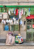 Front of a traditional Chinese house with laundry, Guangzhou, China Stock Images