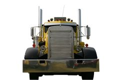Front of Truck Yellow. This is a picture of the front of a large black and yellow 1950s, 18 wheeler semi truck isolated on a white background Royalty Free Stock Photos