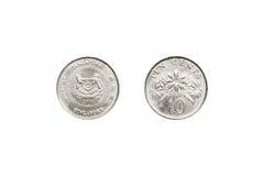 Front und Rückseite von Singapur prägen Cent 10 Lizenzfreies Stockbild