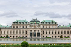 Front of Upper Belvedere with Austrian flag in Vienna Stock Images