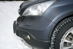 Front of vehicle. Headlight bumper and wheel front of vehicle Stock Image