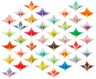 Front view of 40 Paper cranes. Front view of 40 different paper cranes isolated on a white background stock illustration