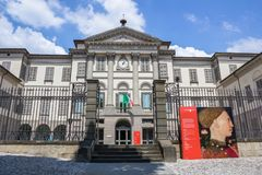 Front view of the Accademia Carrara. The Accademia Carrara is an art gallery and an academy of fine arts in Bergamo, Italy. Bergamo, ITALY - May 11, 2018 royalty free stock image