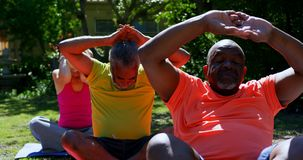 Front view of active mixed-race senior people performing yoga in the garden of nursing home 4k stock video