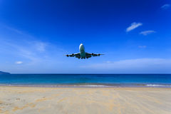 Front view of Airplane landing Royalty Free Stock Photography
