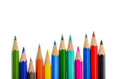 Front view of aligned coloring crayons Stock Image