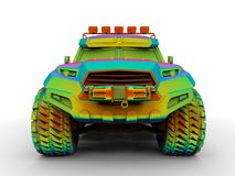 Front view - all terrain vehicle. 3D render illustration of a rainbow colored all terrain vehicle. The composition is isolated on a white background with shadows Royalty Free Stock Photography