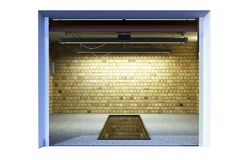 Front view of ampty garage 3d interior with opened roller door 3 front view of a ampty garage 3d interior with opened roller door stock photos planetlyrics Images