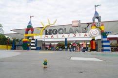 Lego minifigure man in front entrance of Legoland Malaysia. royalty free stock photos