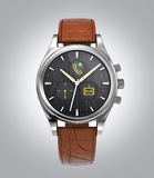 Front view of analog wristwatch with digital touch screen, and brown leather wristband Royalty Free Stock Photography