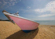 Front view of an anchored fishing boat. Royalty Free Stock Photos