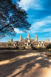 Front view of Angkor wat temple in Cambodia Royalty Free Stock Images