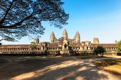 Front view of Angkor wat temple in Cambodia Royalty Free Stock Photo