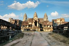 Front view of Angkor wat temple in Cambodia Stock Photos