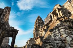 Front view of Angkor wat temple in Cambodia Royalty Free Stock Photography