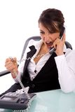 Front view of angry executive interacting on phone Stock Photo
