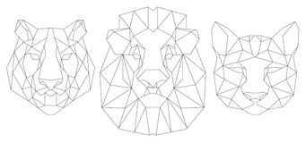 Front view of animal head triangular icon. Animal head triangular icon , geometric trendy line design. Vector illustration ready for tattoo or coloring book vector illustration