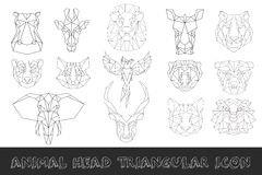 Front view of animal head  triangular icon set. Front view of animal head triangular icon set, geometric trendy line design. Vector illustration for tattoo or Royalty Free Stock Images