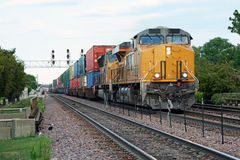 Approaching freight train. Front view of an approaching freight train Stock Photography