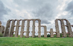 Front view of Aqueduct of the Miracles in Merida. Aqueduct of the Miracles in Merida, Spain. Front view Royalty Free Stock Images