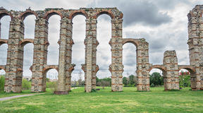 Front view of Aqueduct of the Miracles in Merida Royalty Free Stock Photography