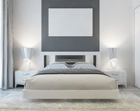 Front view of art deco bedroom. Stock Photography